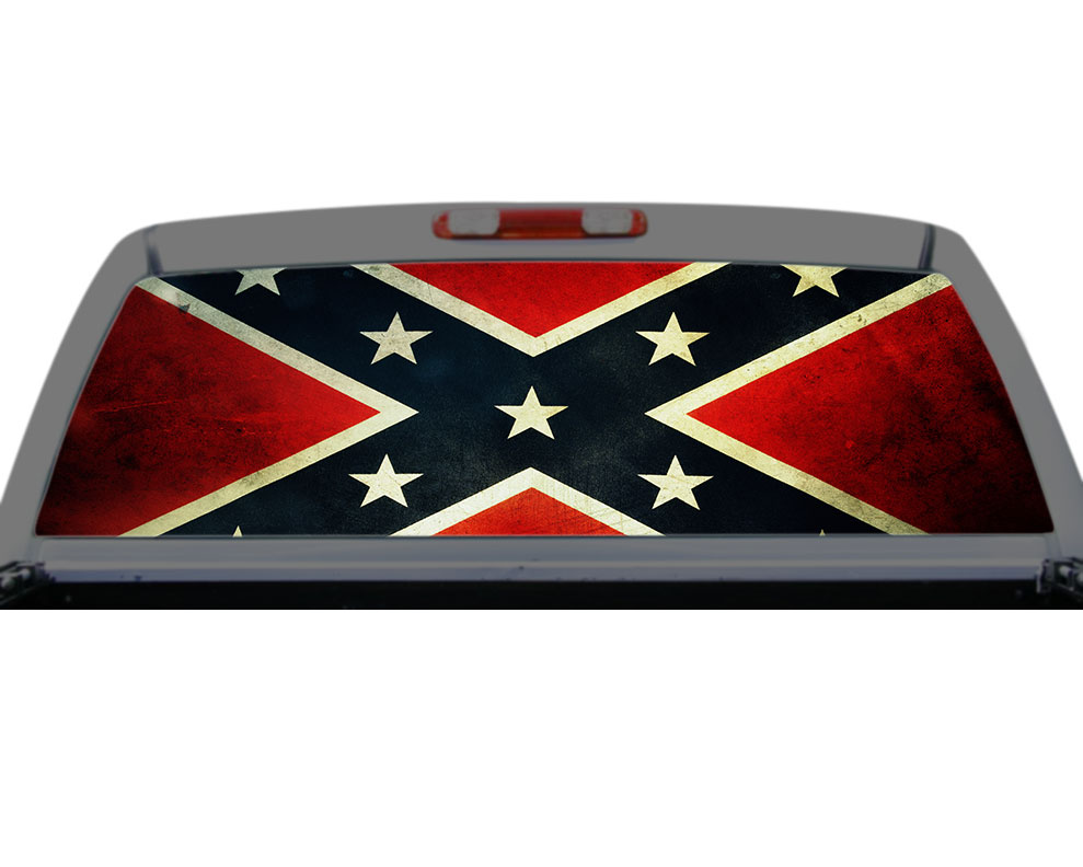 Confederate Flag Southern Rebel Rear Window Decal Truck SUV Perf - Back window decals for trucks